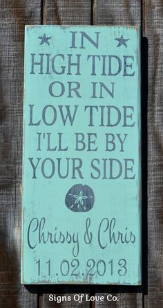 In High Tide Or Low Tide Anchor Mint Green Personalized Beach Wedding Sign - Beach Home Decor - Anchor Nautical Wall Art - Nautical Weddings