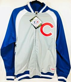 online store 5a8b3 95729 Chicago Cubs MLB Stitches Genuine Authentic Full Zip Up Jacket. Gray, Blue    White with Bright Red  C  for Cubs.