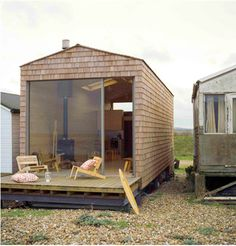 To know more about tiny house design beach chalet - exterior, visit Sumally, a social network that gathers together all the wanted things in the world! Featuring over 1 other tiny house design items too! Small Beach Cottages, Small Cottages, Waterfront Cottage, Waterfront Property, Sweet Home, Cottage Design, Little Houses, Tiny Houses, Beach Houses