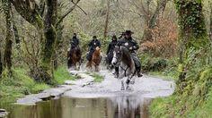 Caballero a caballo por el camino de Santiago