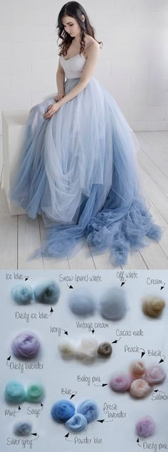 Nora – Etsy ombre choose your colour wedding dress, bridal gown in lace and tulle wedding. Custom ombre dyed bridal gown dusty blue, oyster, nude, pinks open back wedding gown. Tulle skirt wedding idea. Bridal gown inspiration on Etsy. #bridalgown #weddingdress #ombre #tulledress #fairytalewedding #gardenwedding #springwedding #bride #weddings