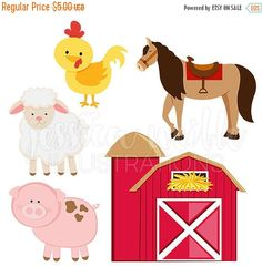 Barn Yard Animals Clip art Image, Instant Download - comes with a pig, a chicken, a lamb, two horses and four barns.  Digital illustration of cute farm animals.  Graphics are created in vector image software and are saved at High Quality 300 dpi Resolution. Image Size:  -Graphics will be 7 inches at their tallest or widest point.  Formats Included:  -High Resolution JPG with White Background -High Resolution PNG with Transparent Background USES ALLOWED:  -Any Personal or Non-Profit Projects…