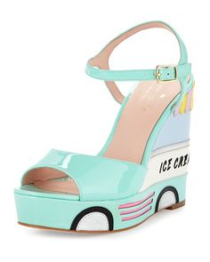 dotty ice cream wedge sandal, mint liqueur by kate spade new york at Neiman Marcus.