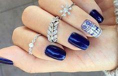 Diseños de uñas para invierno, diseño de uñas invierno gel.   #uñasbonitas #unhas #uñassencillas