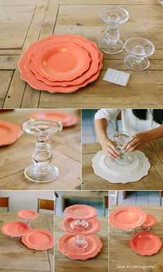 Check out this colorful DIY cake stand, created with plates and candleholders. Shop Dollar Tree's selection of $1 products to make this project budget-friendly.