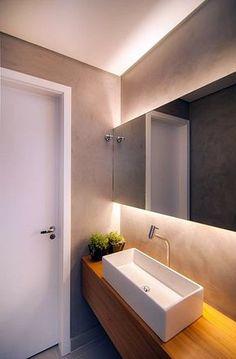 pequeno banheiro cimento queimado madeira