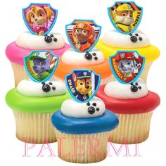 Paw Patrol Cupcake Topper rings by PALERMI on Etsy https://www.etsy.com/listing/225228700/paw-patrol-cupcake-topper-rings