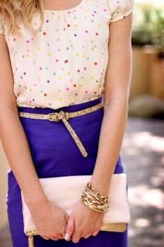 Try pairing a nude polka dot silk short sleeve blouse with a blue pencil skirt to create a chic, glamorous look. Shop this look for $159: http://lookastic.com/women/looks/beige-shortsleeve-shirt-and-blue-pencil-skirt-and-pink-clutch-and-gold-belt/889 — Beige Polka Dot Silk Short Sleeve Blouse — Blue Pencil Skirt — Pink Leather Clutch — Gold Leather Belt