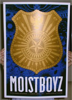 Original silkscreen concert poster for the Moistboyz featuring Dean Ween at the Bowery Ballroom in New York City, NY. 17 x 24 Limited edition of 150 S/N by artist Todd Slater. Small corner ding.