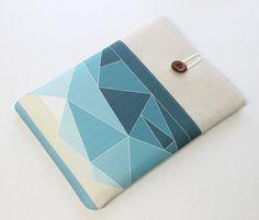 Macbook Pro Laptop Sleeve, Geometrical Landscape series in Blue, Macbook Air Laptop Case, 13 in, 15 in, 11 in