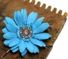 Bright Blue Hair Pin Flower #blue #flower #hair #accessory