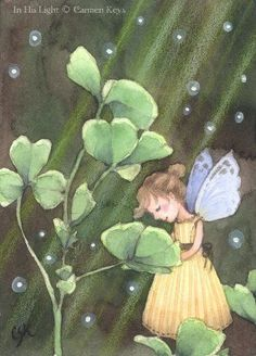 In His Light ACEO. Fairy art by Carmen Keys Medlin. A wee fairy miss plays in the clover, basking in the light of the Creator's love. Fairy Land, Fairy Tales, Woodland Creatures, Forest Creatures, Mythical Creatures, Unicorns And Mermaids, Elves And Fairies, Art Portfolio, Whimsical Art
