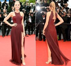 "Blake Lively at the Opening Ceremony and ""Grace of Monaco"" premiere Pantone Color of the Year 2015 Marsala"