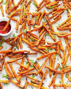 These crispy baked sweet potato fries are easy to make, healthier than the fried version, and incredibly tasty! Just 8 ingredients and 30 minutes required.