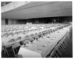 Banquet hall in Austin, set up on Nov. 22 1963, for President Kennedy's dinner. He, obviously, never arrived.