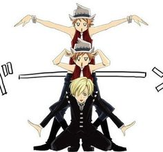 Tamaki and the Twins as Kid, Liz, and Patty (ohshc x soul eater crossover)