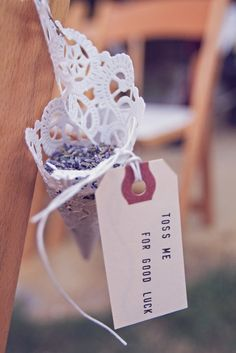 Toss lavender at your wedding! It smells great, looks beautiful, and can be left in the grass!