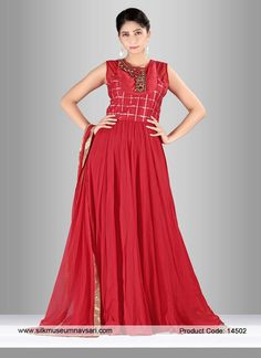 Fashionable Crimson Georgette Diamond Work Party Designer Gown