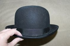 Vintage Mens' Bowler Black Hat Derby Hat by YourVintageDays