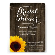 Rustic Country Sunflower Bridal Shower Invitations Bridesmaids - Rustic country wedding invitation templates