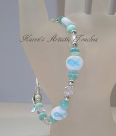 Teal Ribbon White Ovarian Cancer Awareness by ArtisticTouches, $16.00