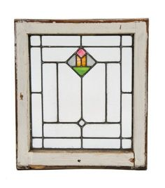 original c. 1920's antique american craftsman style leaded glass residential window with abstract art glass floral motif - Stained Glass Windows - Products