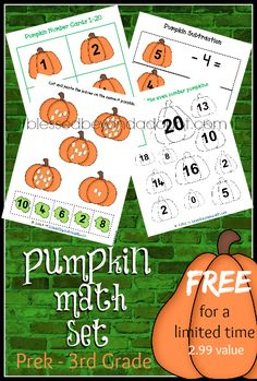 Super FUN pumpkin math printable set. Free for a limited time! Geared for ages PreK-3rd!