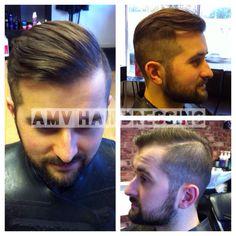Undercut fade quiff beard male hairstyle