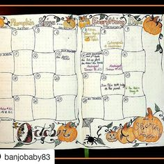 Lively October spread . #Repost @banjobaby83 with @repostapp ・・・ My October #monthlyspread is finally done! Hooray for #bujoart! #bulletjournaling #bulletjournal #bulletjournaljunkies #bulletjournalcommunity #bujo #bujocommunity #bujojunkies #bujolove #bujoaddict #notebook #journal #monthlylayout #monthly #stationeryaddict #lettering #monthlyspread #doodle #plannercommunity #notebook #bulletjournalcollection #bjcmonthly