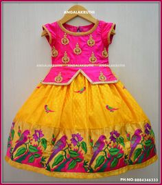 Custom designer frock by Angalakruthi boutique Bangalore Kids frock with Rich hand embroidery designs Indian tradational frock designs Angalakruthi- Custom designer boutique in Bangalore Kids Indian Wear, Kids Ethnic Wear, Baby Lehenga, Kids Lehenga, Kids Dress Wear, Kids Gown, Baby Dress Design, Frock Design, Kids Blouse Designs
