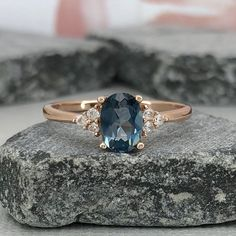 Oval Blue Sapphire Diamond Simulated Stone Ring Dainty Rose Gold Lab Sapphire Three Stone Sterling Silver Engagement Wedding Promise Ring by VillaniDesigns on Etsy
