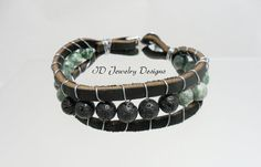 Mens Wire wrapped Tree Agate and Lava Bead by IDJewelryDesigns