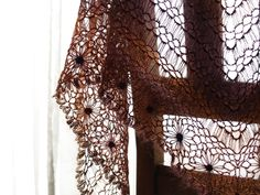 broomstick crochet with flower motif shawl