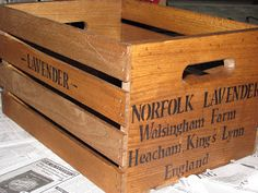 A Southern Gal's Quest for the Gourmet Life: Craft Project: Antiquing wooden Crates (Lavender) for Environmentally Friendly Wedding Send Off