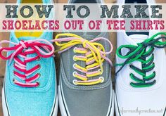 DIY Projects | DIY Crafts | Love t-shirt yarn? Turn old t-shirts into colorful and fun shoelaces!