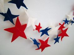 Star Garland  Fourth of July Patriotic Red  White by AllyandAidan, $15.00