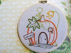 Embroidery Design PDF Pattern Fall Pumpkin Cottage House. $5.00, via Etsy.