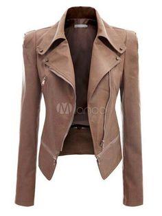 Cerniere Slim Fit Moto Giacche PU in pelle giacca donna - Milanoo.com