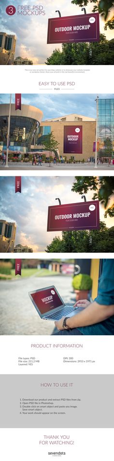 Free 3 Outdoor PSD Mockups (211.3 MB) | By Seven Dots on @dsgnresources | #free…