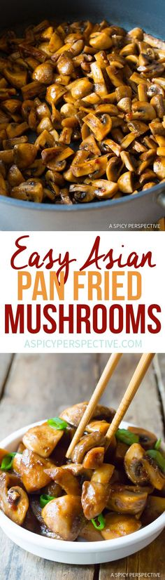 No Bake: Asian Stir Fried Mushrooms - A Spicy Perspective mushroom recipes Side Dish Recipes, Vegetable Recipes, Asian Recipes, Vegetarian Recipes, Cooking Recipes, Healthy Recipes, Mushroom Asian Recipe, Fried Mushroom Recipes, Fried Mushrooms