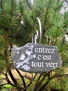 "#créationtrogodyte-Décoration de jardin en ardoise, pancarte,ardoise décorative ""mésange""déco terrasse,plaque de maison, by création troglodyte artisanat made in France,"