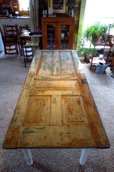 Vintage door table. Beautifully repurposed and by DoorsToTables, $725.00