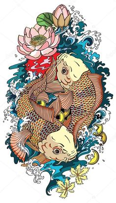 Drawing Of Lotus Flower On Water with Koi Fish. Drawing Of Lotus Flower On Water with Koi Fish. I Def Want asian Inspired with Koi Fish and Lotus Flowers In Koi Fish Drawing, Koi Fish Tattoo, Water Drawing, Fish Drawings, Drawing Drawing, Dragon Koi Tattoo Design, Lilies Drawing, Koi Carp Fish, Small Dragon Tattoos