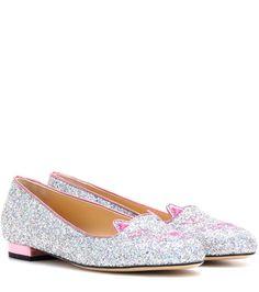 CHARLOTTE OLYMPIA Kitty Flat Glitter Slippers. #charlotteolympia #shoes #slippers