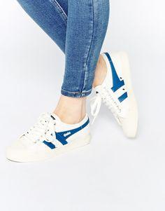 Gola | Gola Coater Off White & Blue Sneakers at ASOS