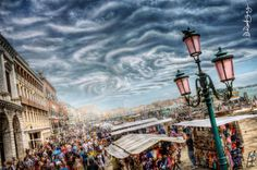 Title - A Cloudy Day In Venice Photographer - David Rodríguez Palomar Description. That picture was taken while walking the streets of Venice, from a small bridge. It shows the crowd and the atmosp. Cloudy Day, Hdr, Seattle Skyline, Surrealism, Venice, Times Square, Italy, Street, Small Bridge