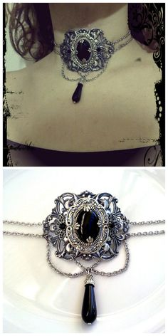black gothic choker neo victorian jewelry by ApplebiteJewelry