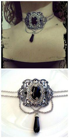 black gothic choker neo victorian jewelry by ApplebiteJewelry