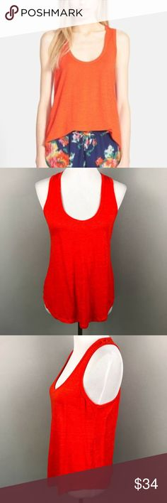 """Joie Kylie Linen Tank Top L Racerback Paradise Red Joie Kylie Linen Tank Top Large Scoop Neck Racerback Women's Paradise Red  Mimicking the exotic hue of a bird-of-paradise bloom, a lightweight linen tank cut with a sporty racerback and relaxed hem will inject instant vibrancy into any springtime look.  18"""" pit to pit 25"""" length  050618-UU1-27-MS Joie Tops Tank Tops"""