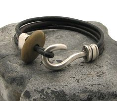 52e49711abd7 FREE SHIPPING Men s leather bracelet. Black and brown multi strap leather  bracelet with silver plated